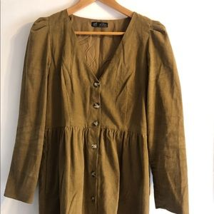 corduroy button down tunic dress from Zara